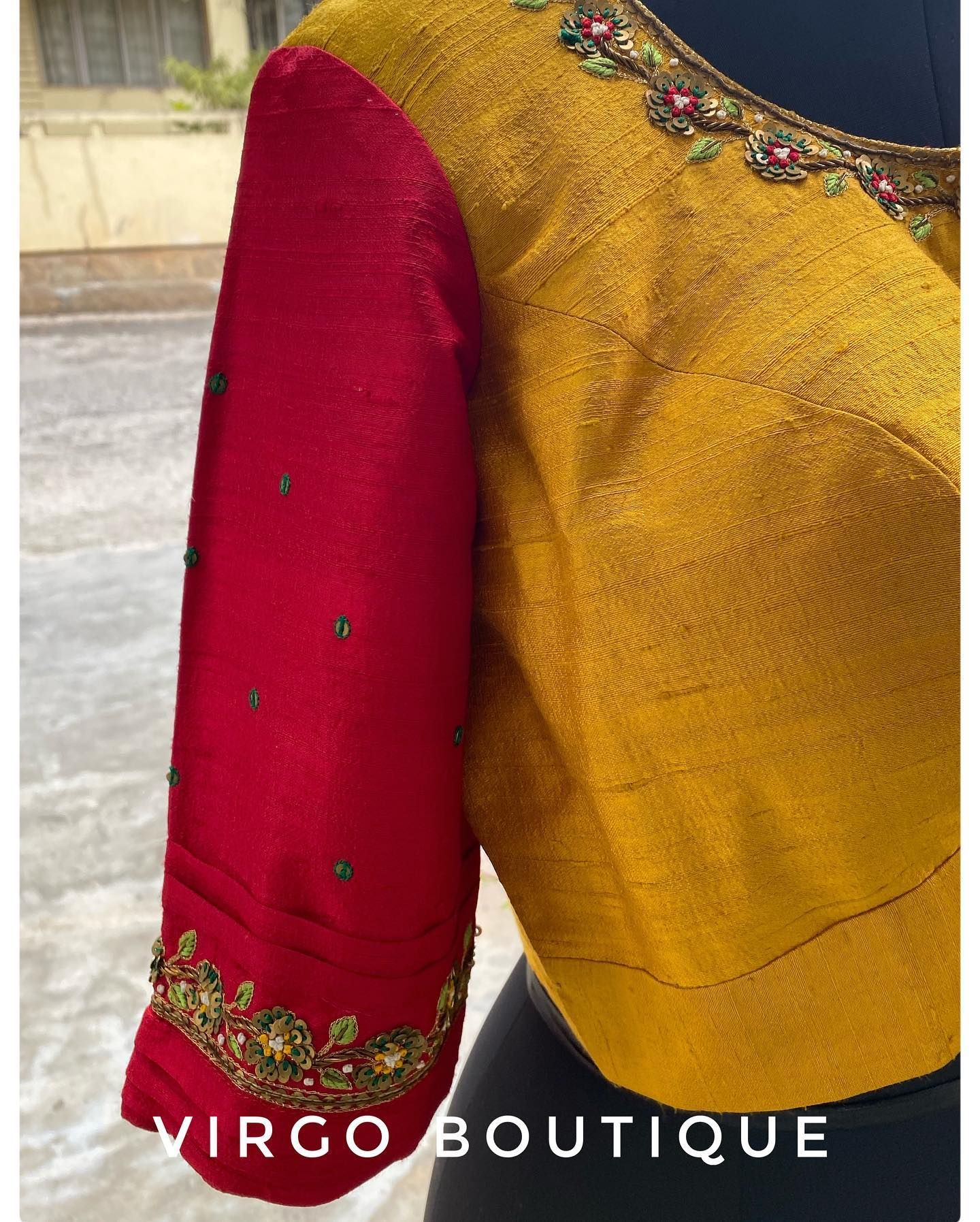 Custom dyed raw silk in two shades for a Patola blouse and hand embroidered with flat metal sequences ! The handmade latkans stand out  adding so much more oomph . 2021-08-05