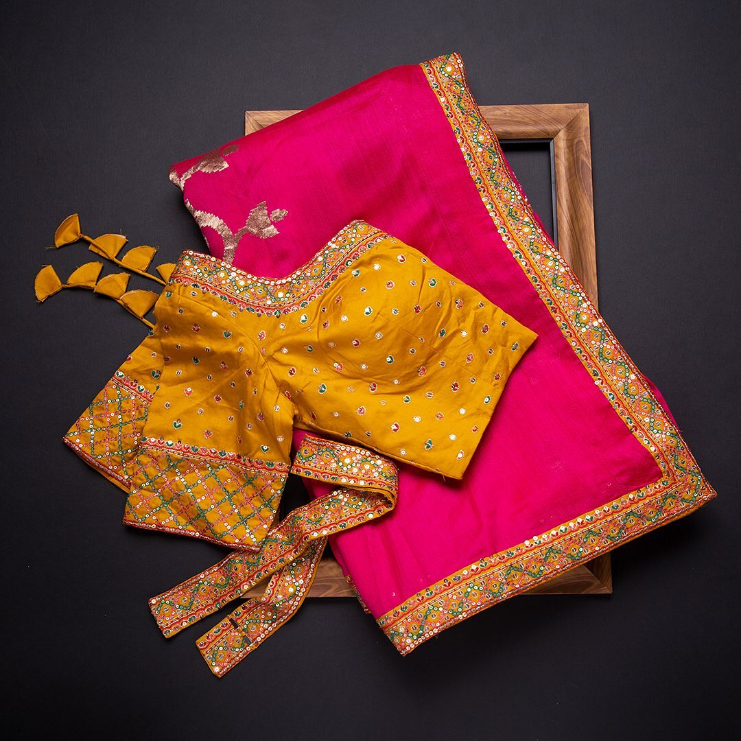 Illustrate a royal appearance at your special event with Samyakk's luxury tussar drape that exudes allure. This gorgeous saree is perfectly ornamented with elite dori  sequins and pearl detail to create traditional yet modish look. Carry off with contrast embroidered blouse and a set of elegant neck piece for added glam finesse.  Worldwide free shipping Contact : 00919845922959 Email: Esales@samyakk.com Product Code: SE2381 2021-08-05