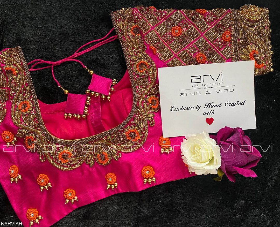 Stunning pink color bridal blouse with floral bead and thread maggam and aari work. 2021-08-05