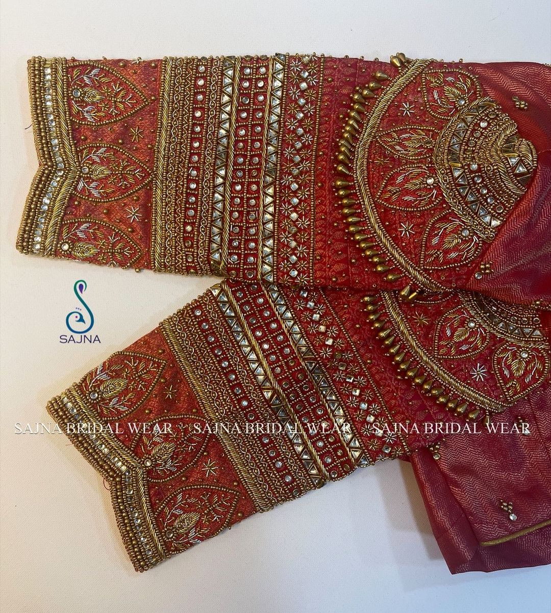Stunning bridal blouse with stone and beads aari work. 2021-08-05
