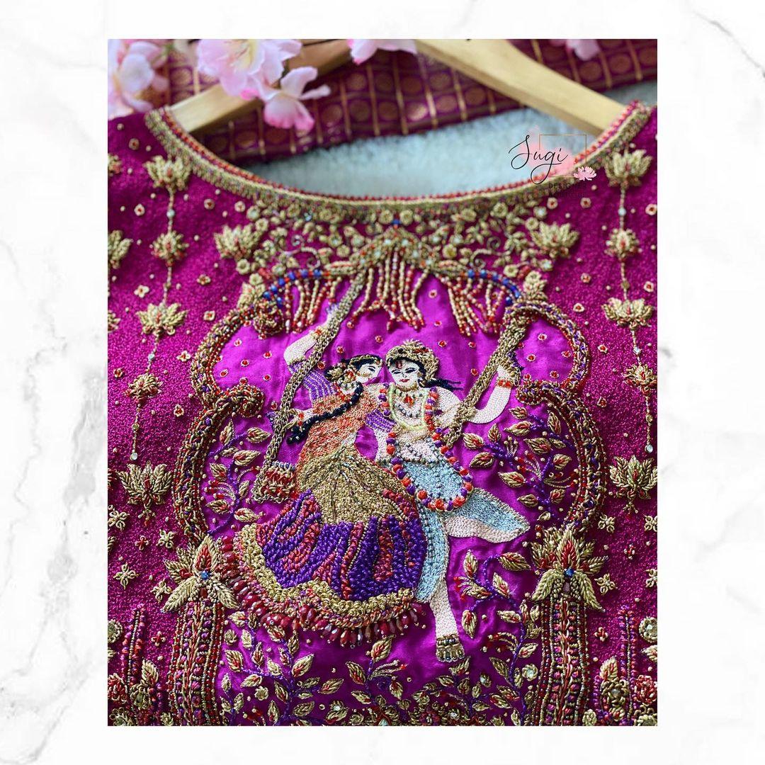 Stunning purple color bridal blouse with Radha krishna embroidery aari work on back. 2021-08-05