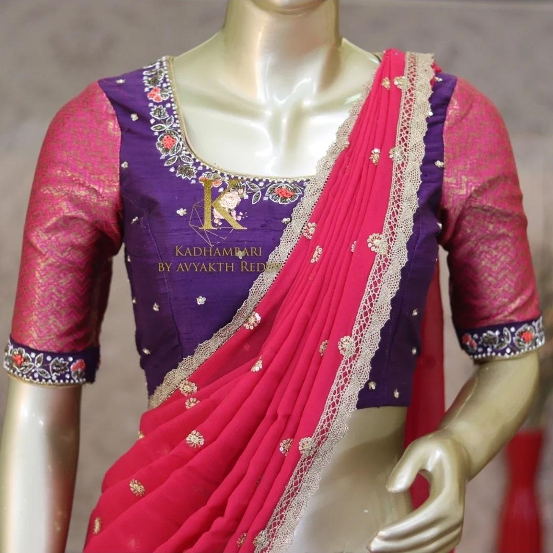 Beautiful purple pattu langa and blouse with net dupatta. Blouse with embroidery work.  2021-08-05