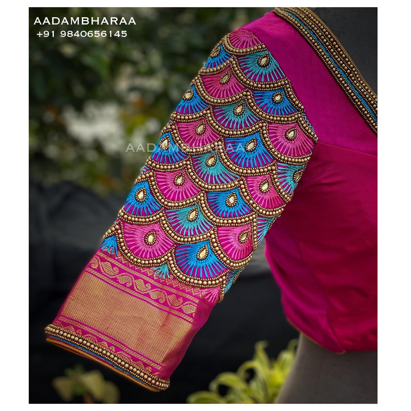 Signature Peacock Scallop Design hand embroidery in the shades of Blue and pink . Contact us for Customisations +91 9840656145 2021-08-06