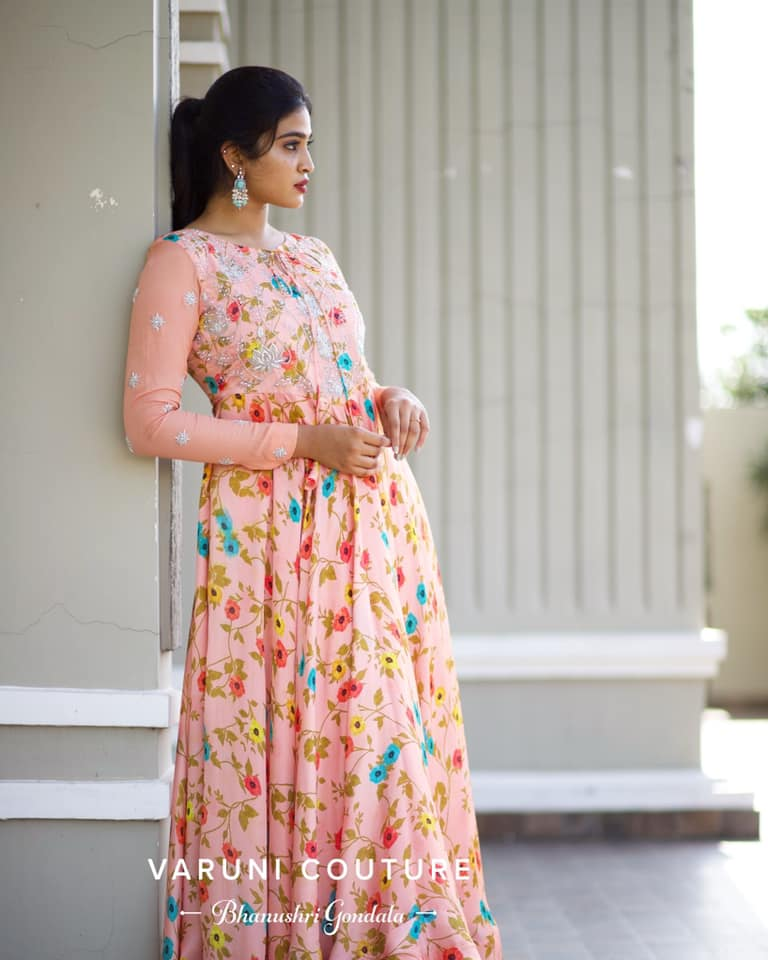 Gorgeous blush pink color floral long frock with full sleeves. 2021-08-06
