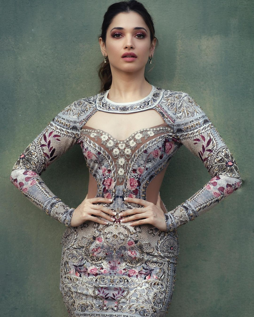 Gorgeous Stunning actress Tamannaah in Rocky Star embroidery tube dress.  Outfit - Rocky star official. 2021-08-06