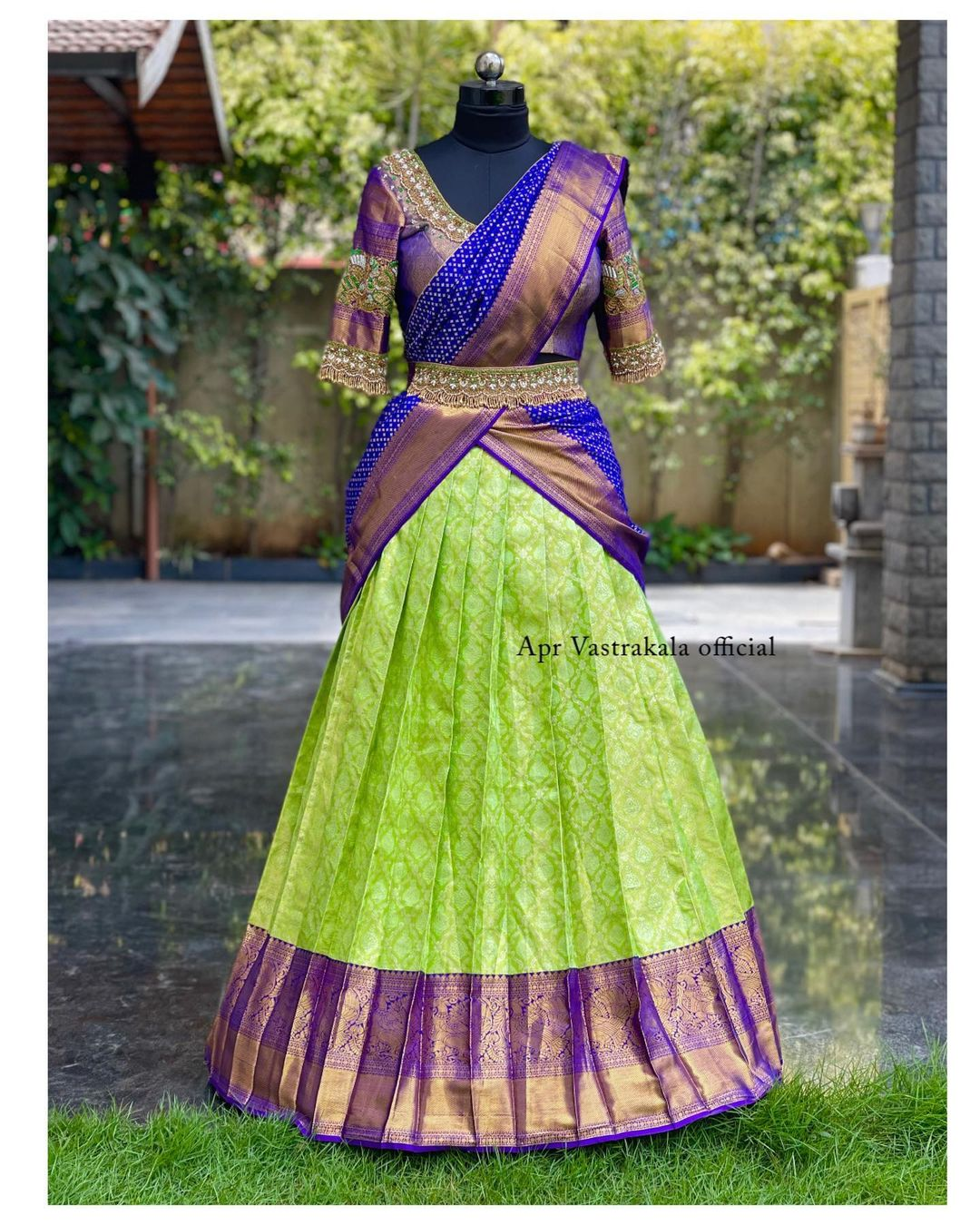 Stunning parrot green and blue color combination pattu langa and blouse with pattu dupatta. Blouse with embroidery work. Traditional halfsaree.   2021-08-06