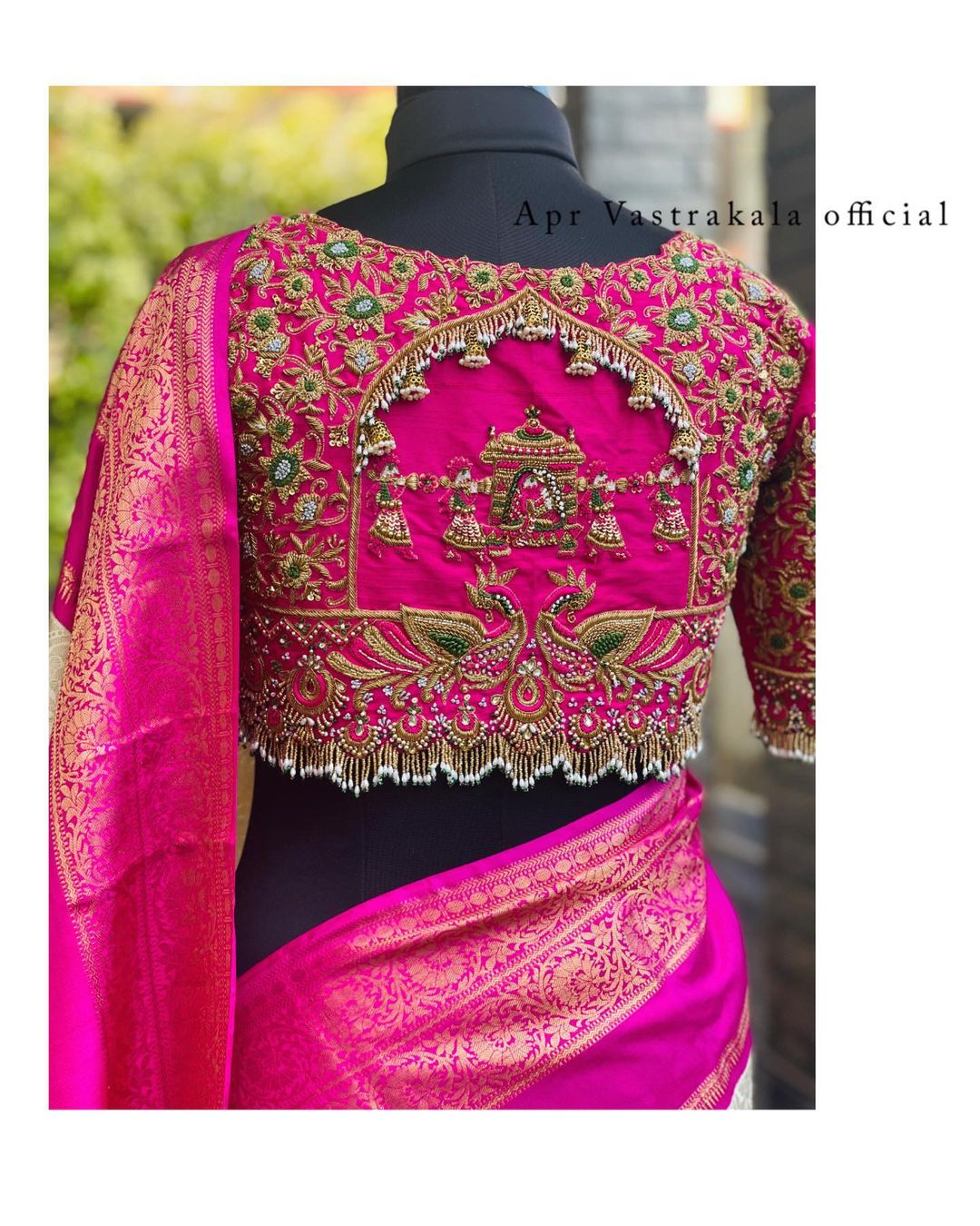 For beautiful bride who wants to go for something different and stunning.bridal blouse design is magnificently done with tiny beads embroidery Multiple color beads are used to embellish the South Indian wedding blouse design. The Kanchipuram silk saree that is paired with this gorgeous blouse. 2021-08-08