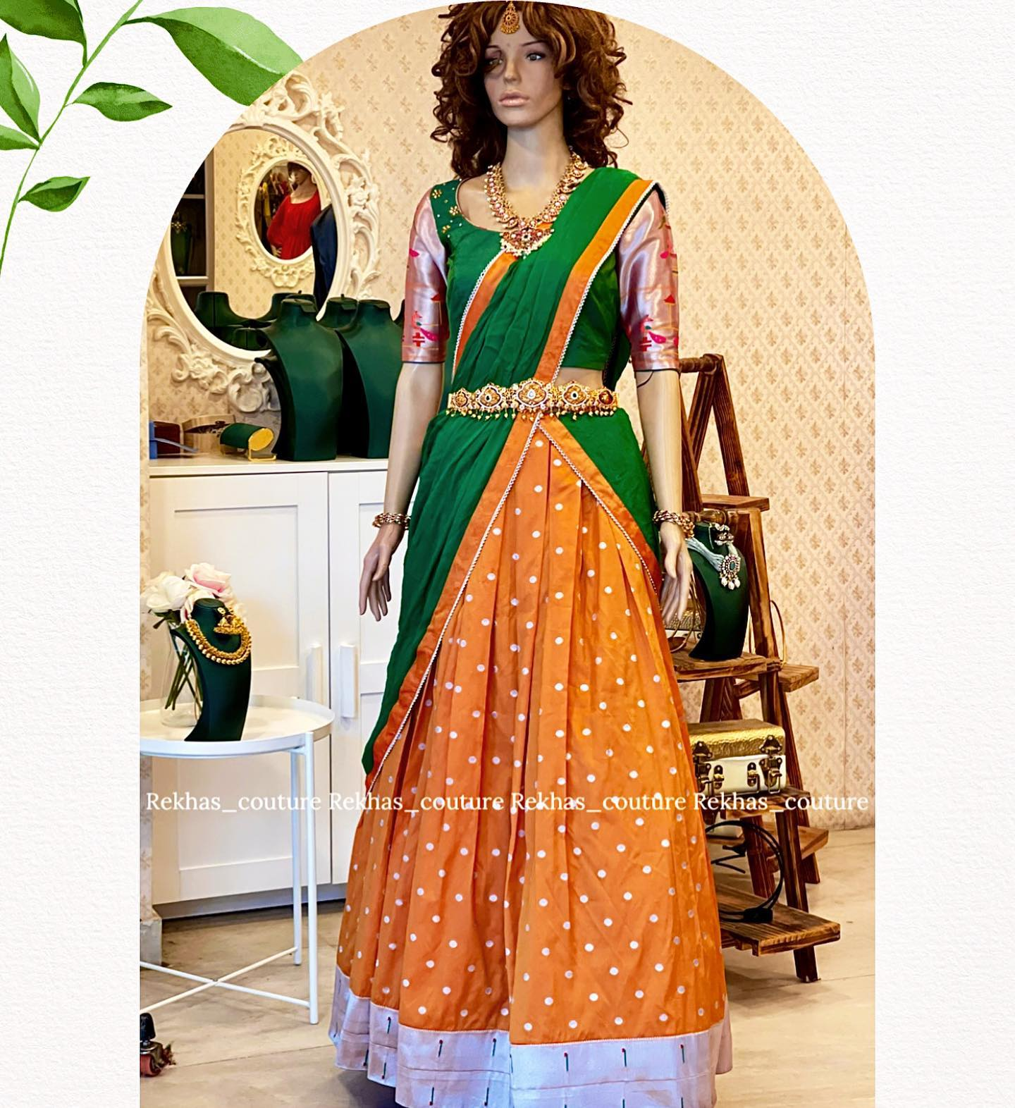 Gorgeous orange and green combination langa voni and blouse. Blouse with paithani sleeves. 2021-08-09