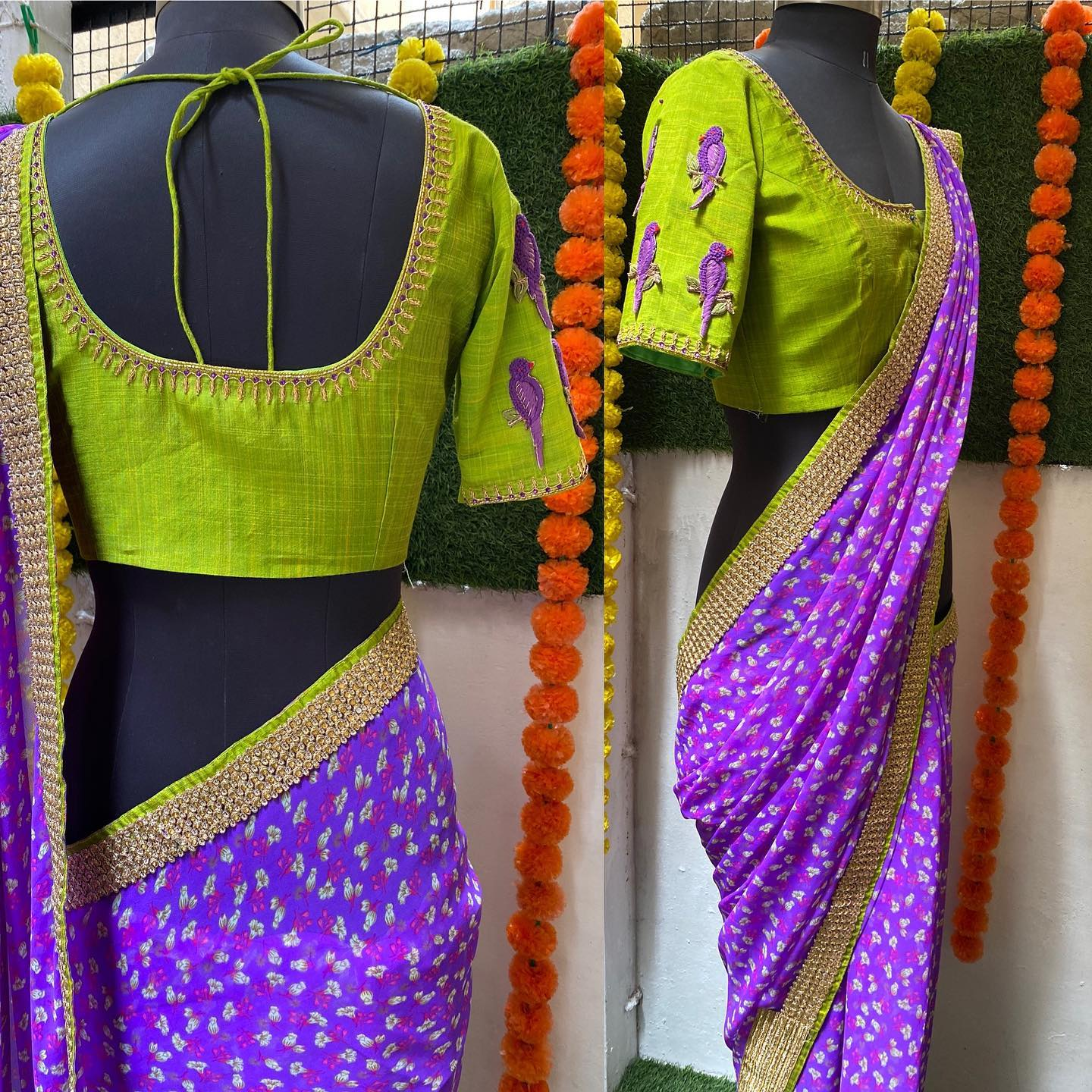 Purple with green silk blouse and heavy Aari worked front back and Sleeves..!! For orders watsapp  on 8072774265 Mail  on orders@threadslabel.com 2021-08-11