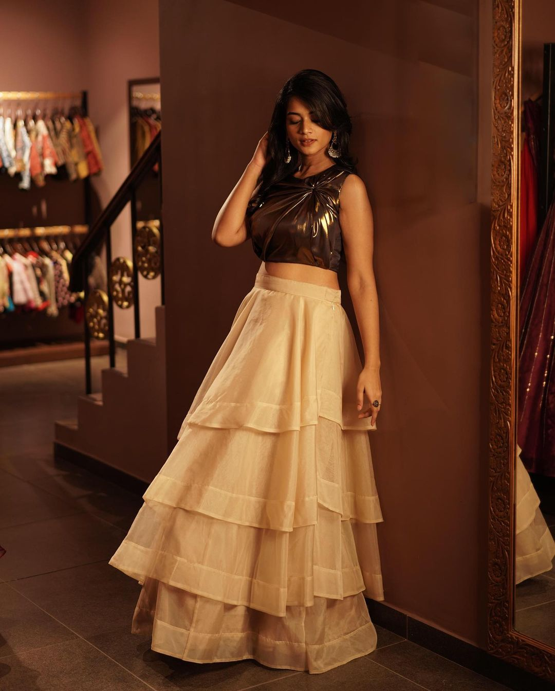 Style Tip! . A well fitted drape top paired with layered organza lehenga and a proper accessory will create a wow look! . To customize plz call 044-42135000 whatsapp 9442293096 2021-08-11