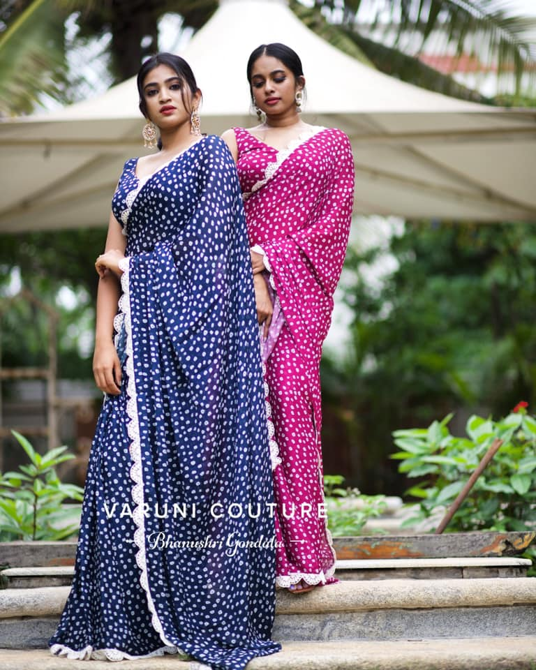 Beautiful blue and pink color bandhini georgette sarees.  2021-08-12