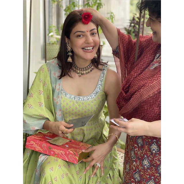 Beautiful actress Kajal Agarwal celebrating her first teej. 2021-08-12