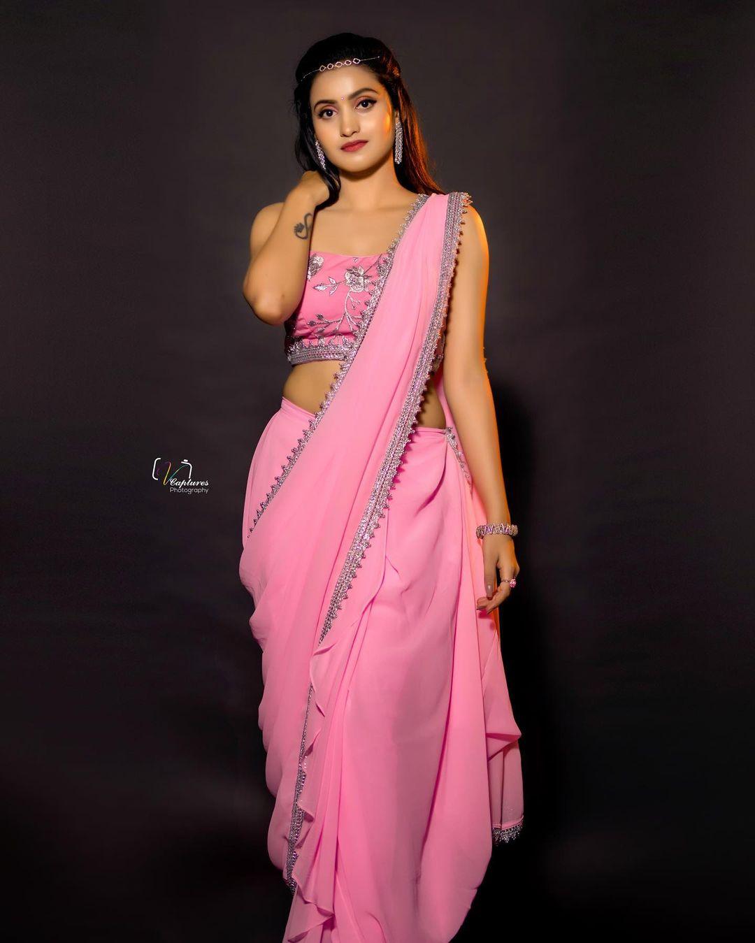 Beautiful actrees Deepika Pilli in firoz designer studio pink ruffle saree. 2021-08-13