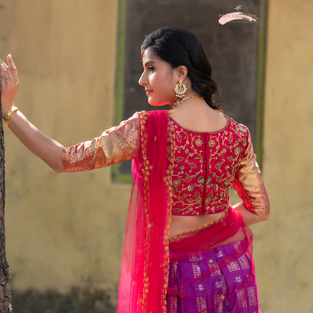 Kanchi pattu Lehenga in Purple and reddish pink combination. For orders please whatsapp us at 7995481918. Email - privacollective@gmail.com Call - 9160560480 2021-08-14