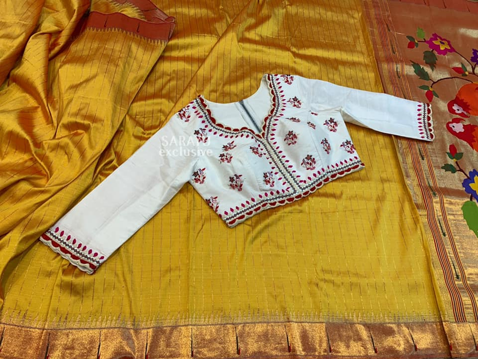 Type : Pure Paithani Silk Description : Presenting paithani beauty in  mustard color with silver checked saree brings in rich elegance with signature silver single muniya border and statement pallu.  Paired with saree fusion ikkat handworked outside blouse with high neck and 3/4 sleeve blouse. Saree unstitched running blouse available for customization.  Make a classic appearance in bright hues at your next festive occasion!!   . . Each piece so beautiful  speaks a story of its own. ✨✨ Price : 625$  Fall/Pico : Yes  Inner Skirt : No 2021-08-15