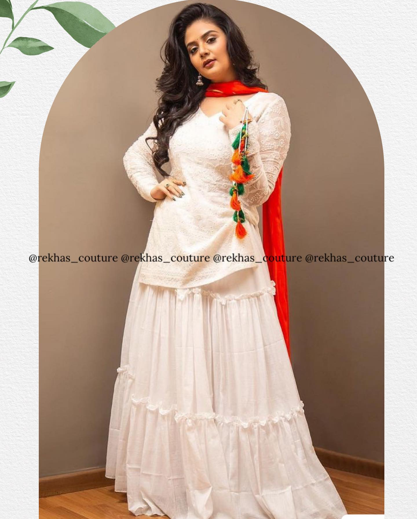 Gorgeous actress Sreemukhi in white color kurti and palazzo pants from Rekhas house of couture.  2021-08-16