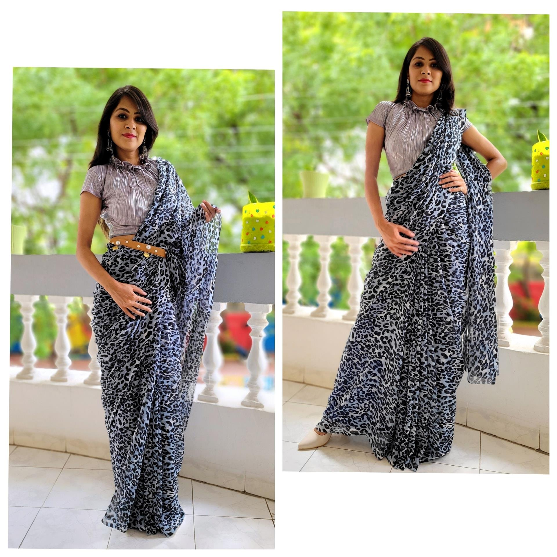 Designer Pleated Blouse With Leopard Print Saree.  Fabrics: 60 grams georgette from Surat saree. Price : Rs. 2866.00/- 2021-08-16