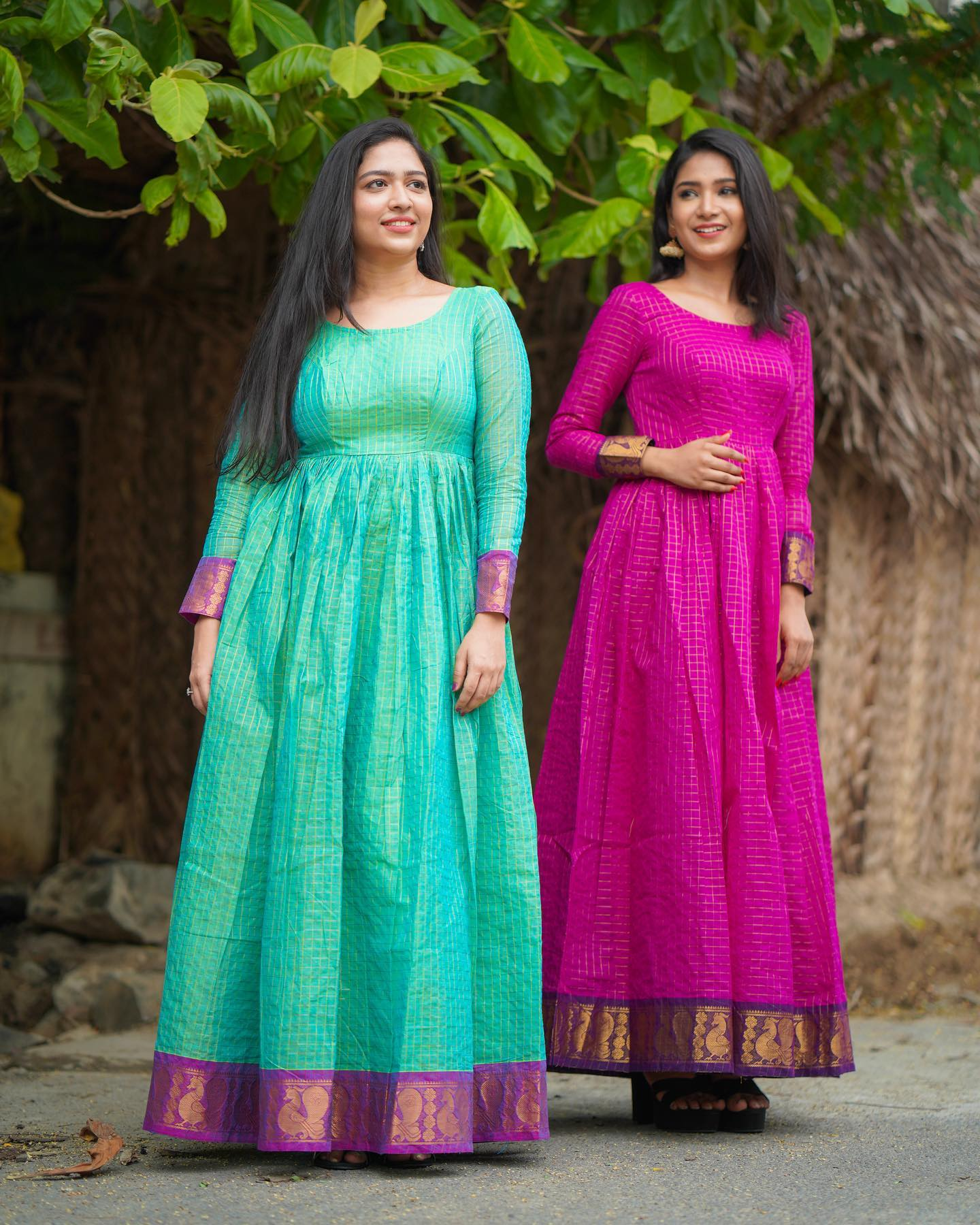 Gorgeous sea green and pink floor length pattu long frock with full sleeves. 2021-08-17