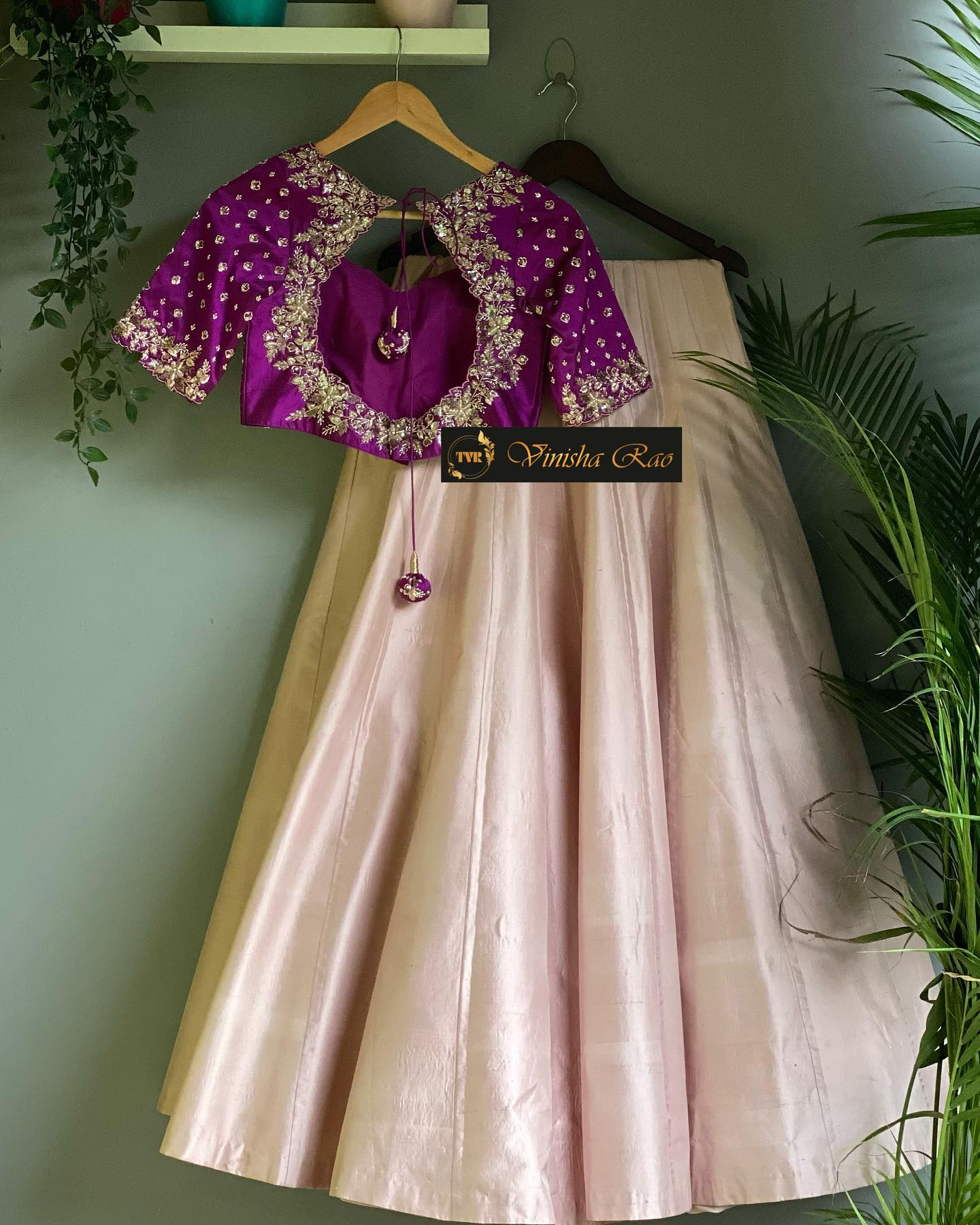 """""""Bridal Lehenga"""" - pastel pink kanjeevaram pattu bridal lehenga with heavy hand embroiderd purple blouse with threads beads  pearls paired with hand embroidery peach dupatta from the house of Vinisha rao designer studio !! Suitable for all kind of occasions !! .. . You can call to order on"""