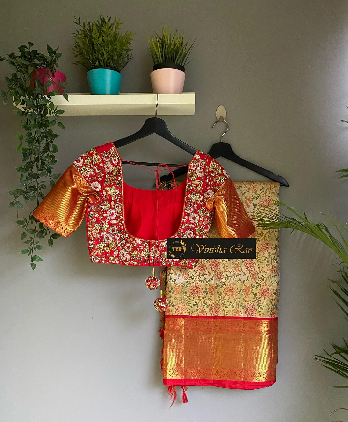 Red pure silk bridal blouse with thread spring and beads hand embroidery work for pure Kanjeevaram pattu saree from the house of Vinisha rao designer studio !! Suitable for all kind of occasions !! .. . You can call  to order on