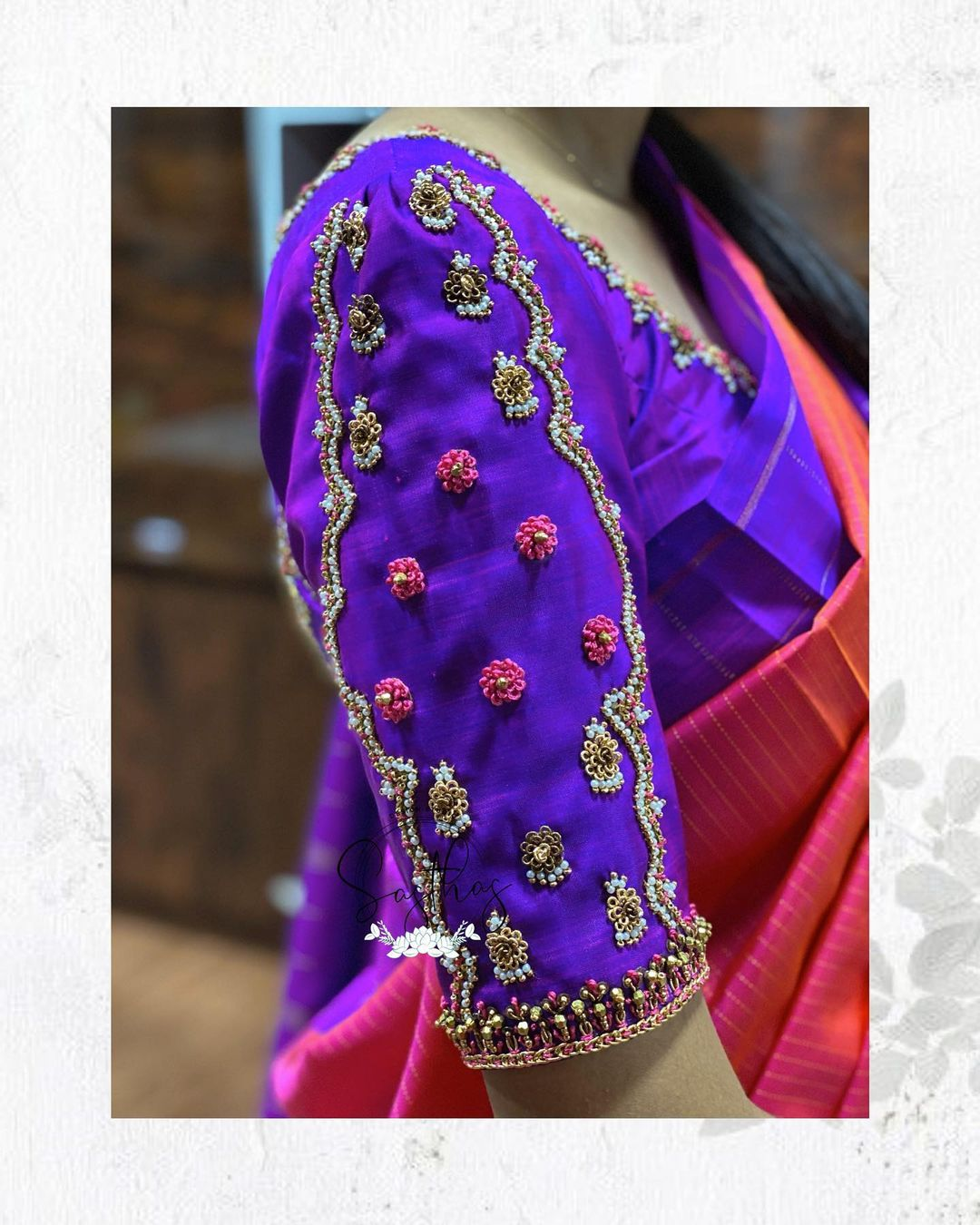 Simple and elegant blouses !! Beautiful purple color raw silk blouse with bead aari work on sleeves. For bridal appointments call @ 9894580666 ! 2021-08-19