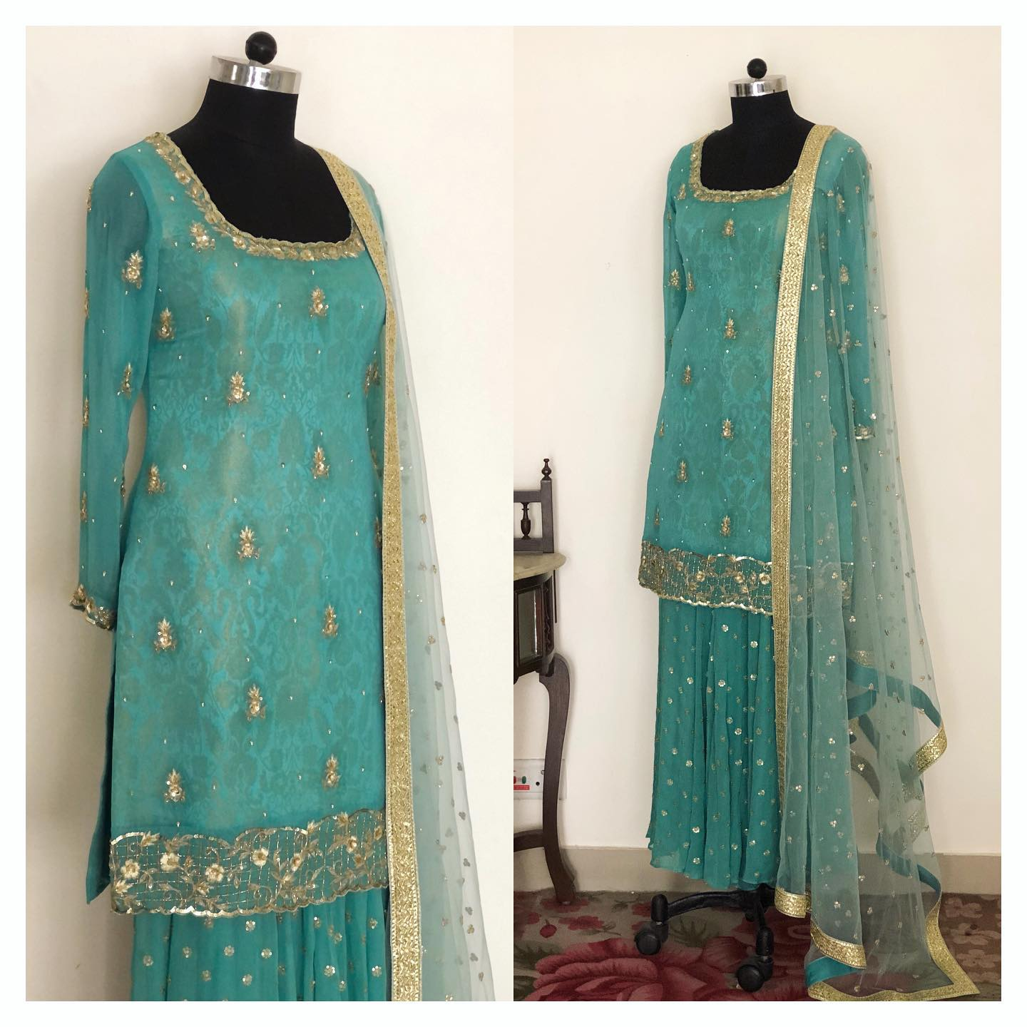The kurta is hand embroidered using sequins zari cut dana and tiny pearls on a shimmer georgette with brocade fabric as lining beneath to add more texture and design. The sharara is made in georgette with sequins flower scattered all over it.  To customise/order DM  or WhatsApp at +918527463626 or Email at shivani@intricado.com. 2021-08-20