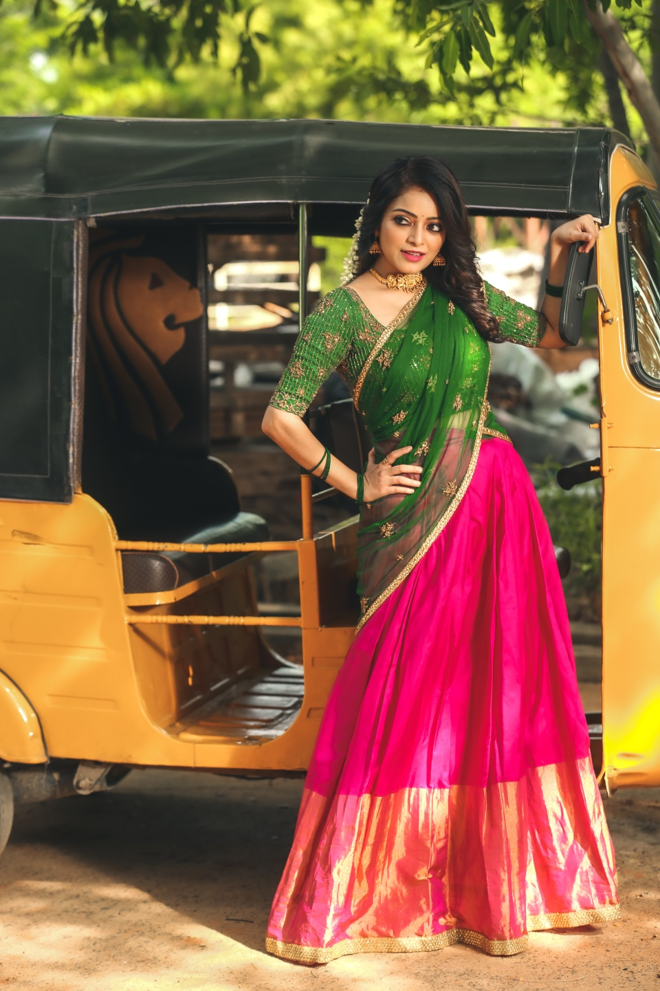 Actress Janani Iyer Looking absolutely Gorgeous in our Traditional Half Saree . . . Customise traditional Half Saree Sets for your special occasions ! ✨  . . For orders and queries  please whatsapp  on  9952093562 or Reach on 044 4262 4085. 2021-08-21