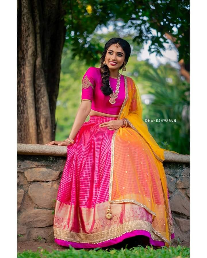 Traditional Half Saree Set. Beautiful Pink on Pink combination with a statement vanki style embroidered blouse and Contrasting mustard net Duppatta . Place your orders now! . . For orders and queries please whatsapp  on  9952093562 or Reach on 044 4262 4085 . 2021-08-21