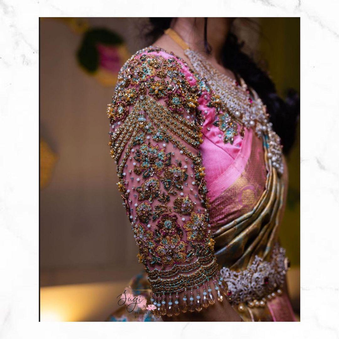 Stunning blush pink color bridal blouse sleeve with bead stone and kundan heavy aari work. 2021-08-22