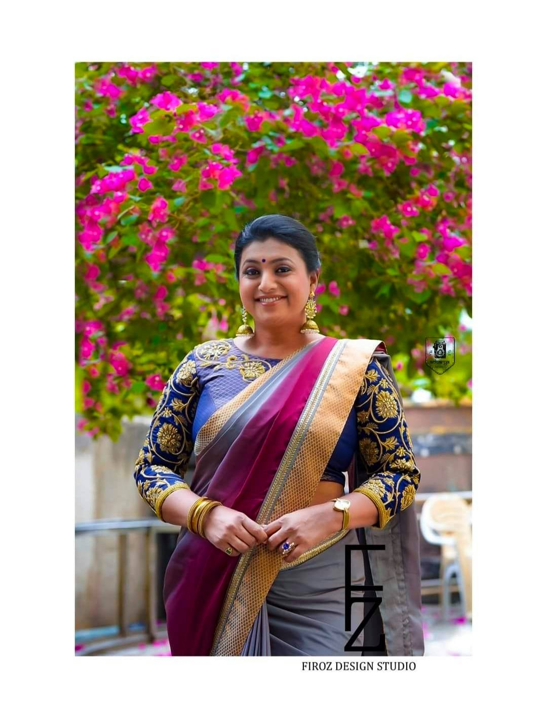 The ever so gorgeous queen of south Indian film industry Roja Selvamani  in Firoz Design Studio saree. 2021-08-23