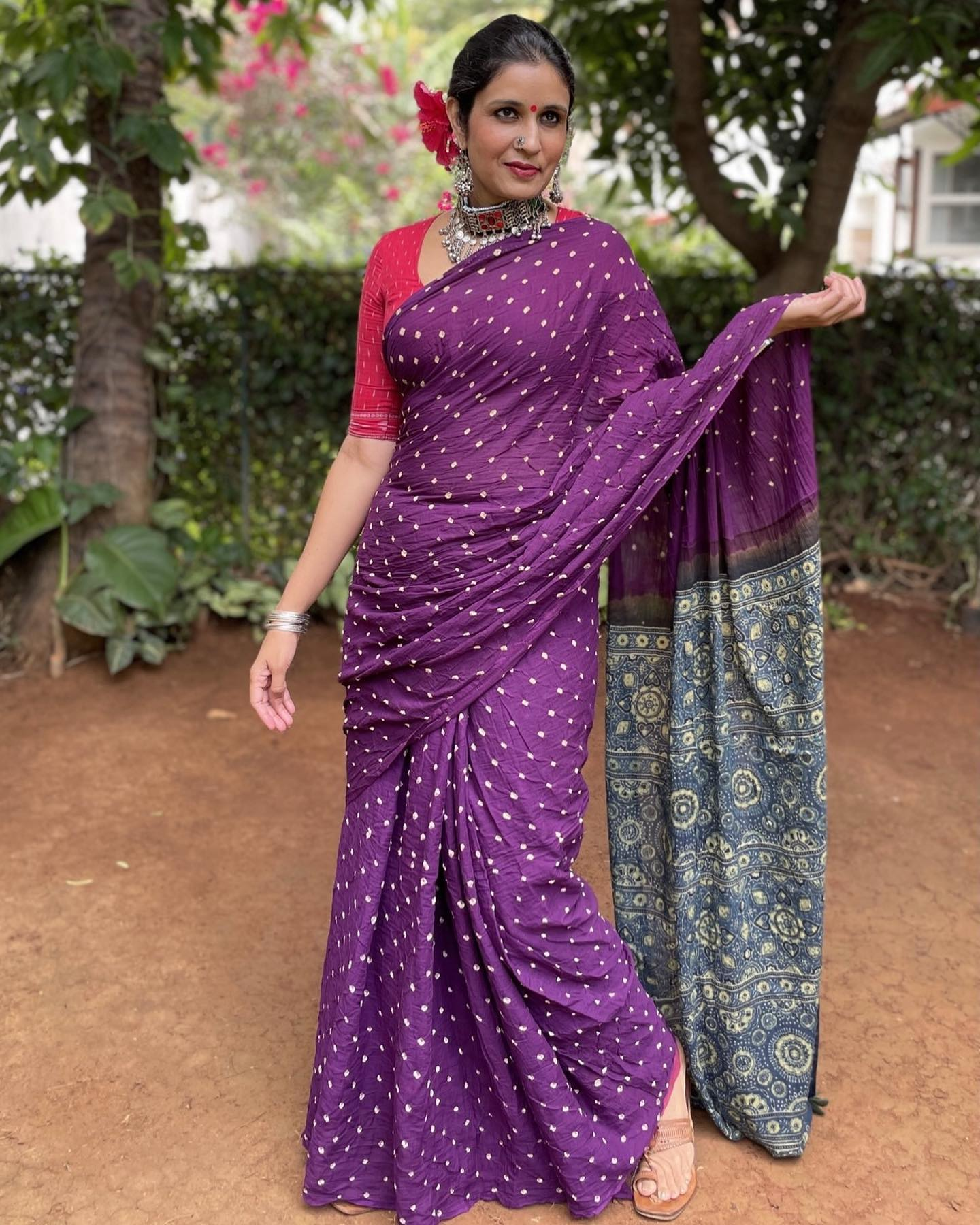 | Orchid | Purple with Indigo vegetable dyed tie and dye ajrakh mul cotton saree 2021-08-23