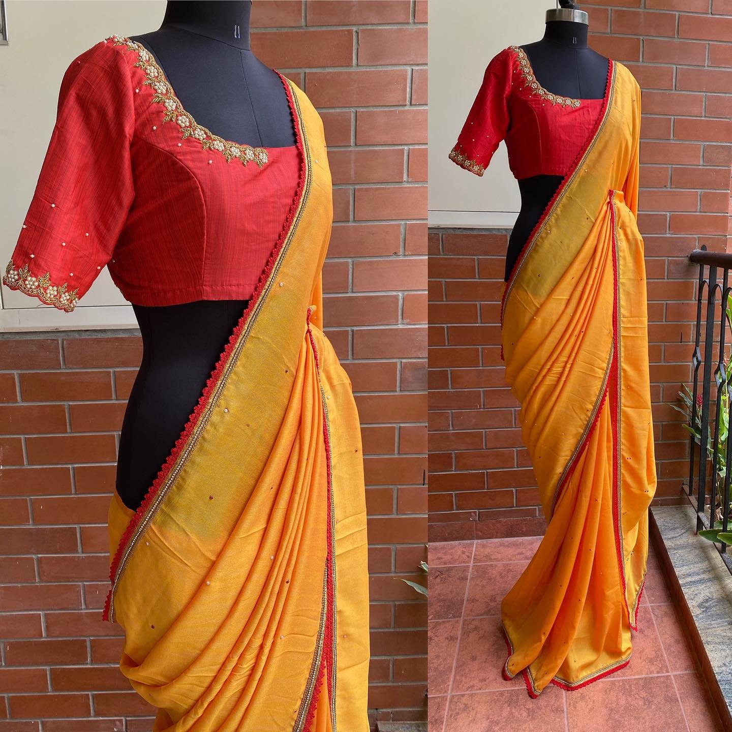 """Red and yellow combo is back again with a beautiful hand work blouse is paired up with a mango yellow silk chiffon with beads all over the saree..!! This product comes stitched Blouse . *Can be altered accordingly to your measurements. *Blouse length :13-14""""(Alterable) *Saree length:5.5m * 5% Gst will be added on Final invoice *Both domestic and International shipping available . 2021-08-24"""