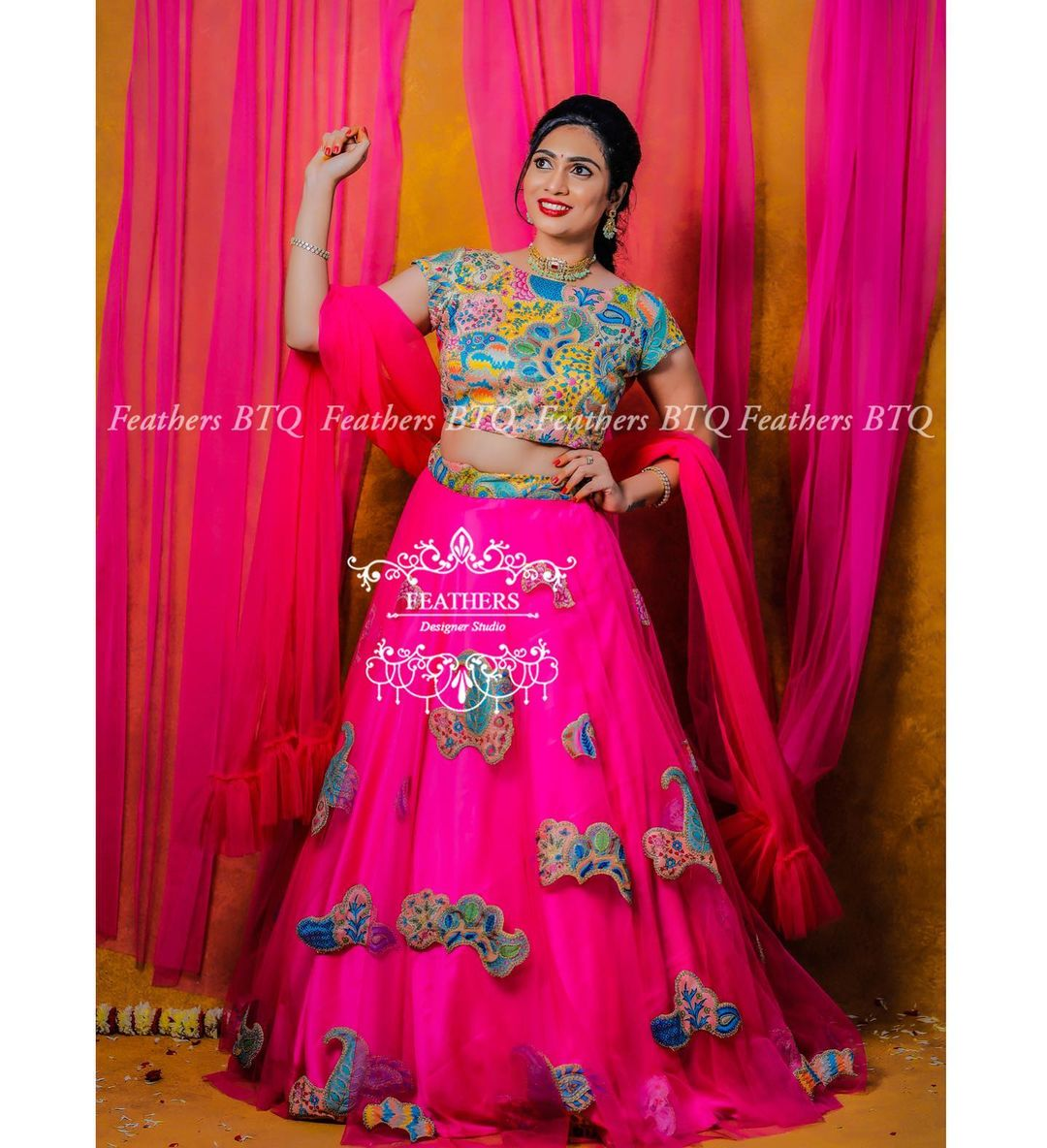 Beautiful pink color net lehenga and crop top with net dupatta.  2021-08-24