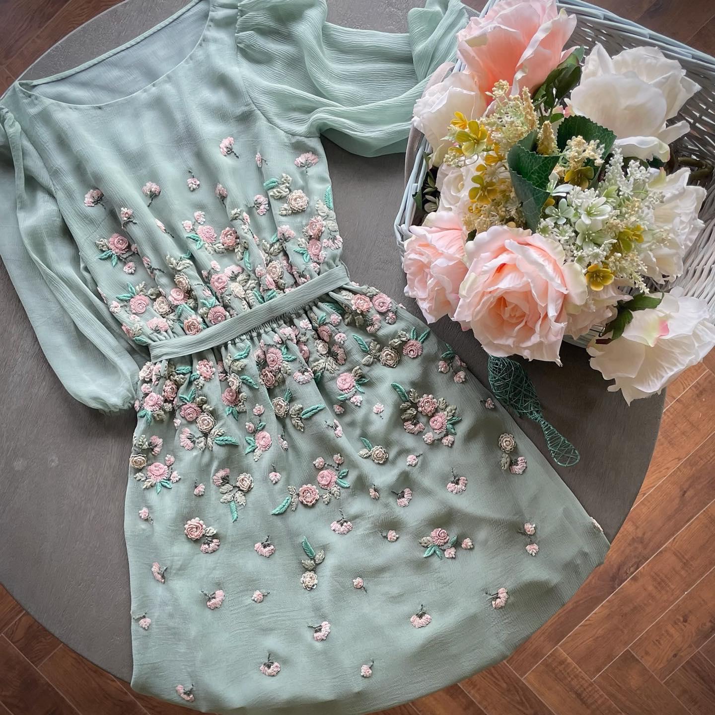 The Dutch Garden Dress.  Another way to elegantly wear chiffon! 2021-08-25