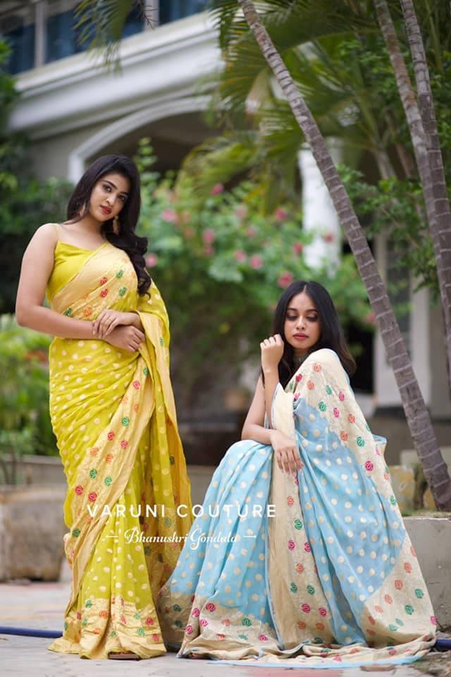 Banarasi georgette X paithani Meena. Beautiful mustard yellow and ice blue color banarasi georgette saree with paithani meena boarder. 2021-08-26