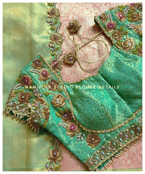 Stunning sea green color bridal brocade blouse with floral hand embroidery bead classy maggam work.  2021-08-26