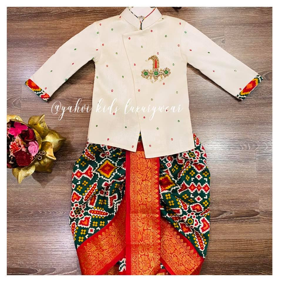 Beautiful Patola dothi and  sherwani for cute boys out there . Limited edition grab soon . . For orders : DM or whatsapp 7893037777( messages only  no calls plz )  2021-08-26