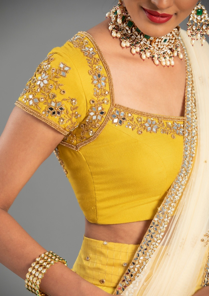 Stunning lime yellow color regal mirror work embroidery blouse. 2021-08-26