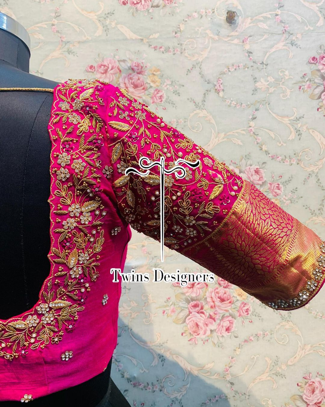 Stunning rani pink color bridal blouse with floral creeper stone maggam work. 2021-08-26