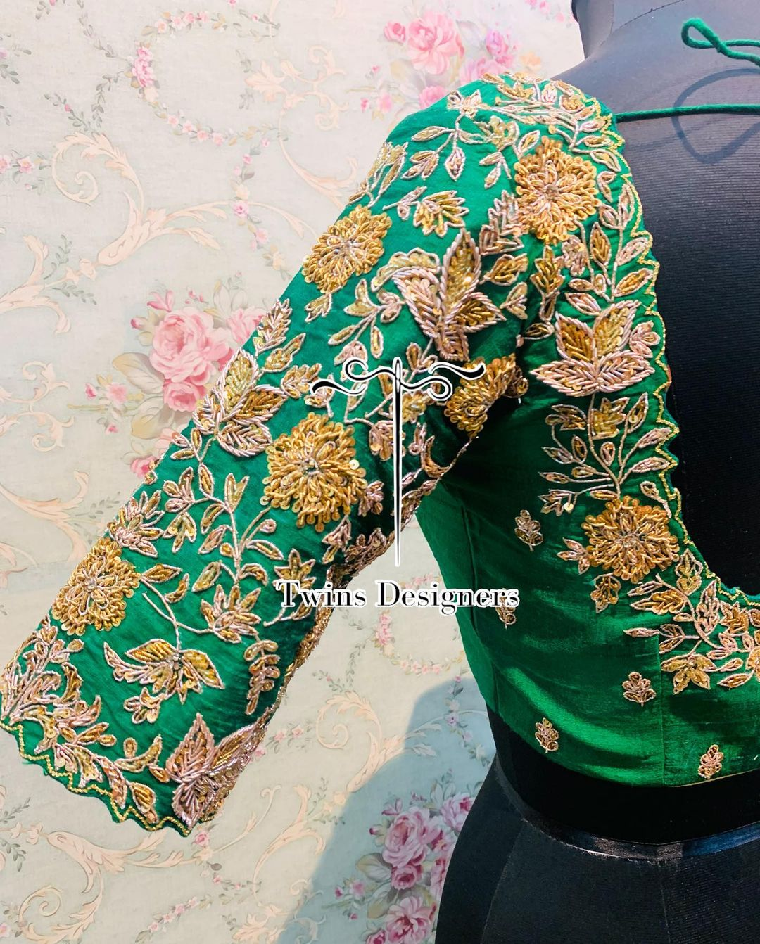 Gorgeous green color bridal blouse with floral zardosi work. 2021-08-26