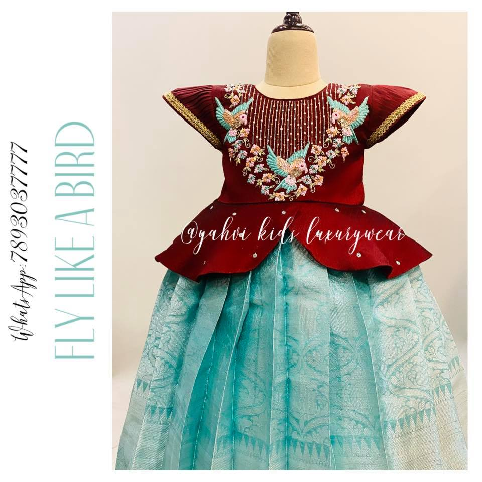 Stunning silver pattu kids lehenga and maroon kids peplum top with floral and flying birds classy hand embroidery.   2021-08-27