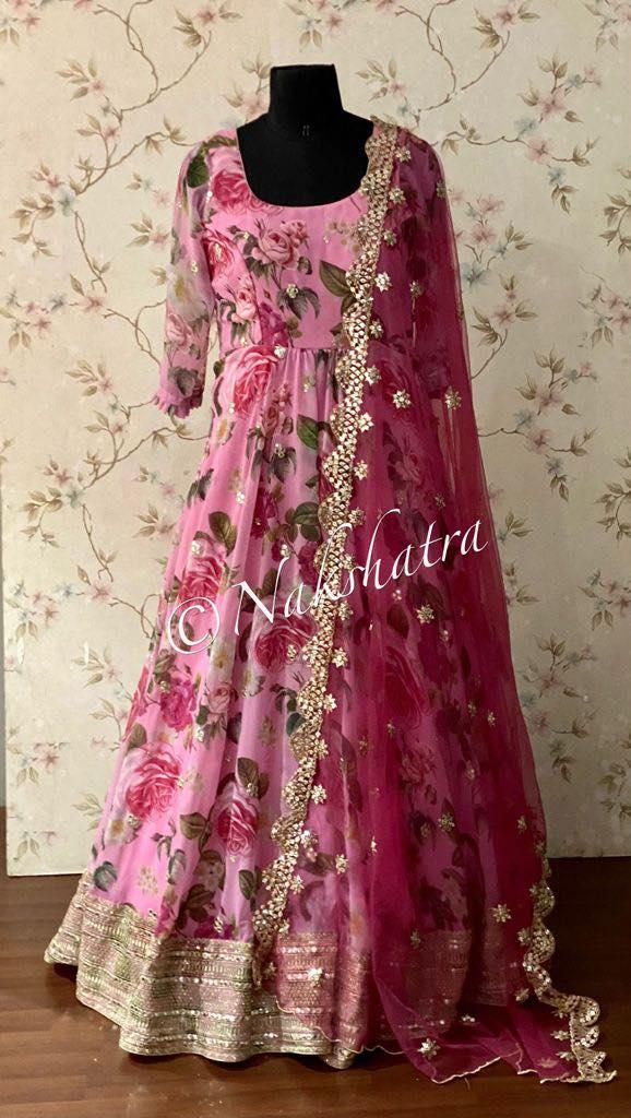 Gorgeous blush pink color floor length floral anarkali with net dupatta. 2021-08-27