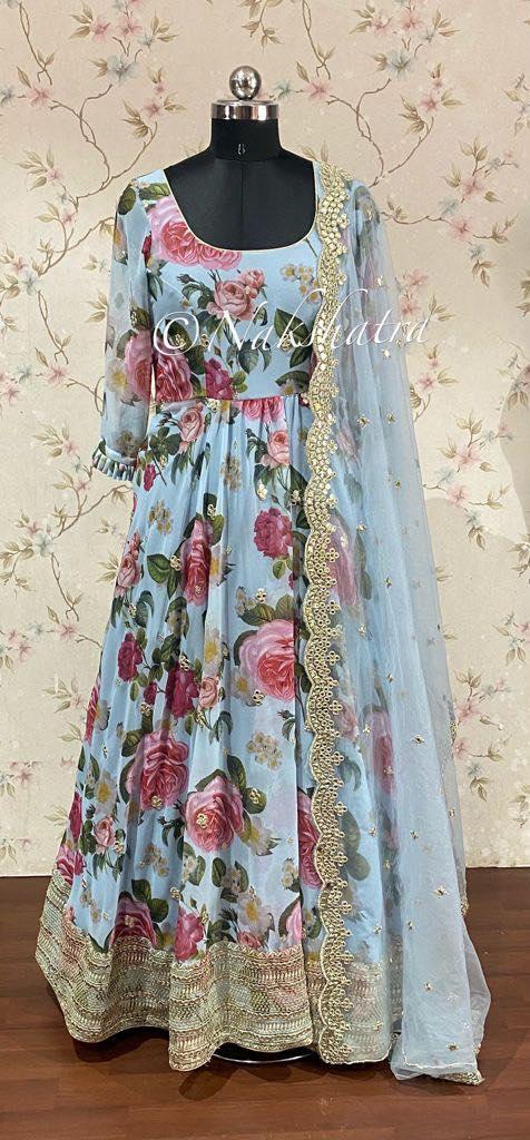 Gorgeous ice blue color floor length floral anarkali with net dupatta. 2021-08-27