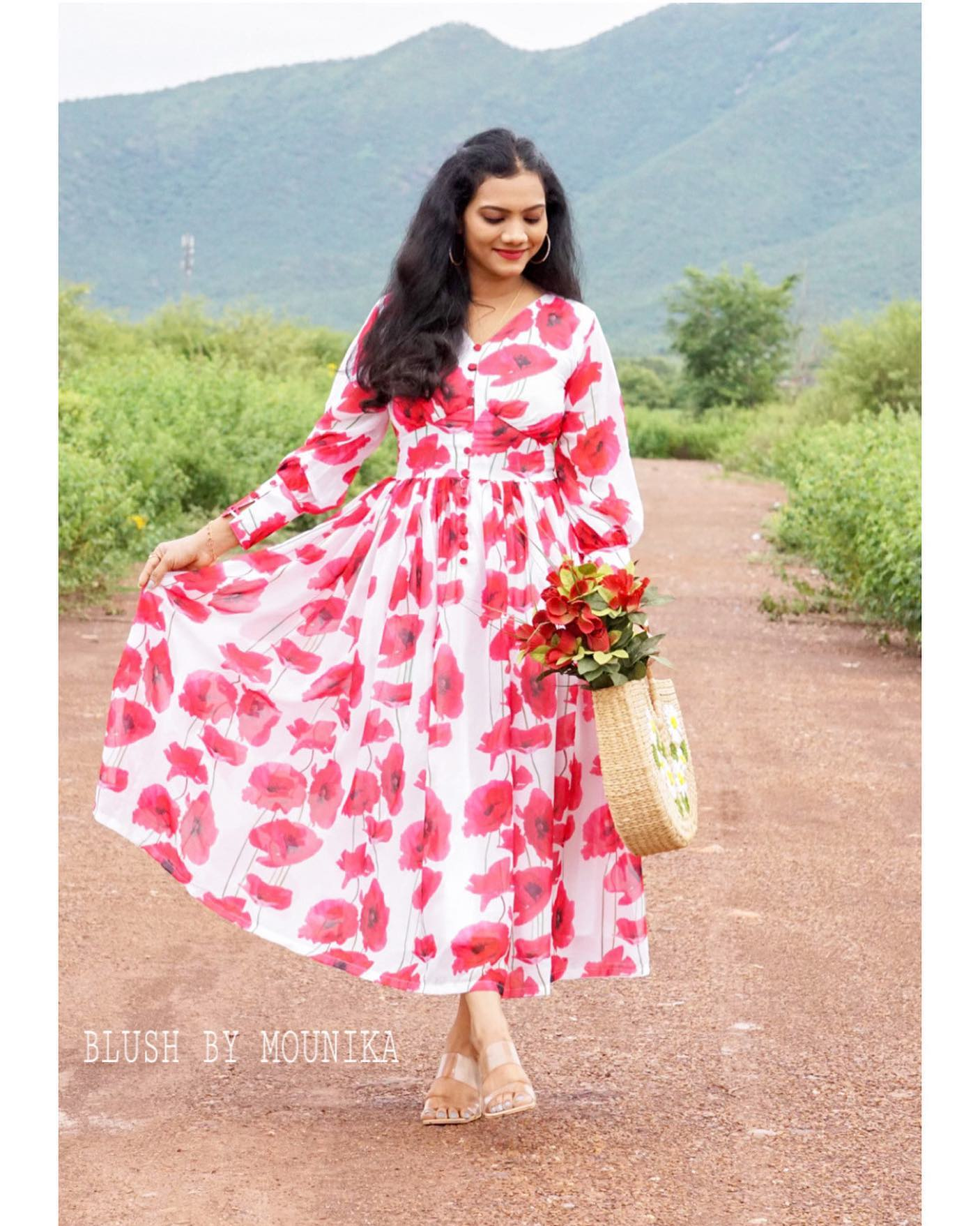 Floral Georgette frock with yoke and sleeve detailing. 2021-08-29