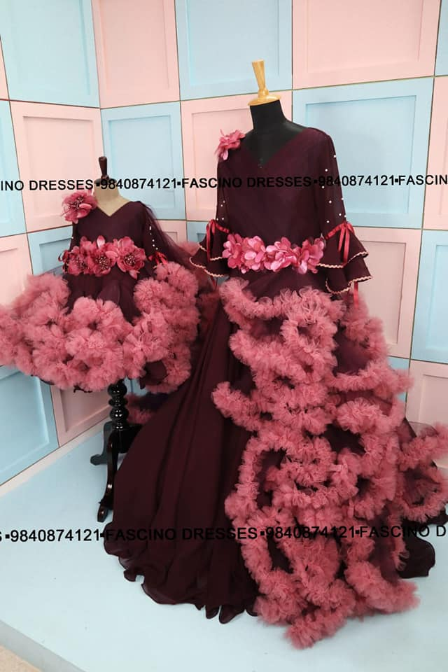 A royal cloud combo ! Burgandy with onion pink mom and baby combo for these lovely darlings from Fascino . Wats app or inbox to order 9840874121 Can customize in any color / size. 2021-08-29