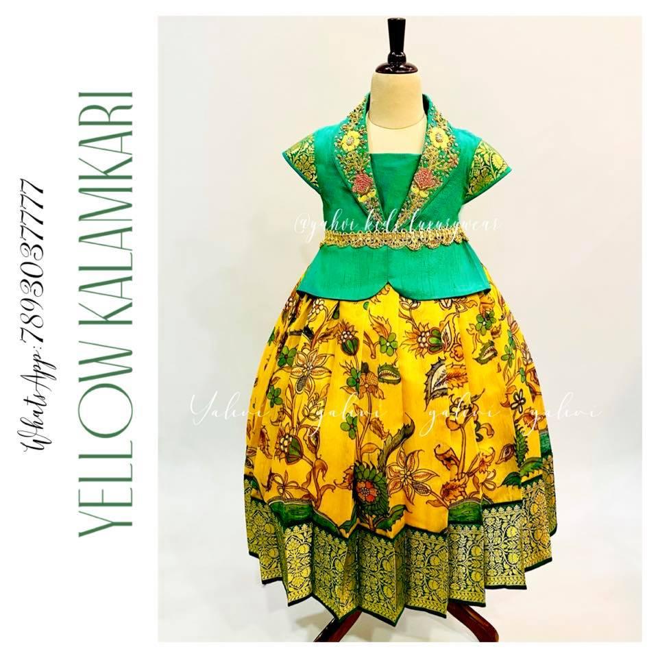 Kids Yellow kalamkari lehanga paired with cute green blouse. . For orders :DM or whatsapp7893037777 2021-08-29