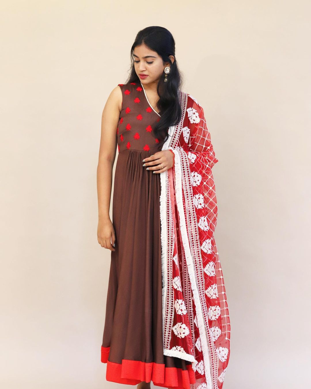 Brown-red affair. Beautiful brown and red color combination long frock.   2021-08-29