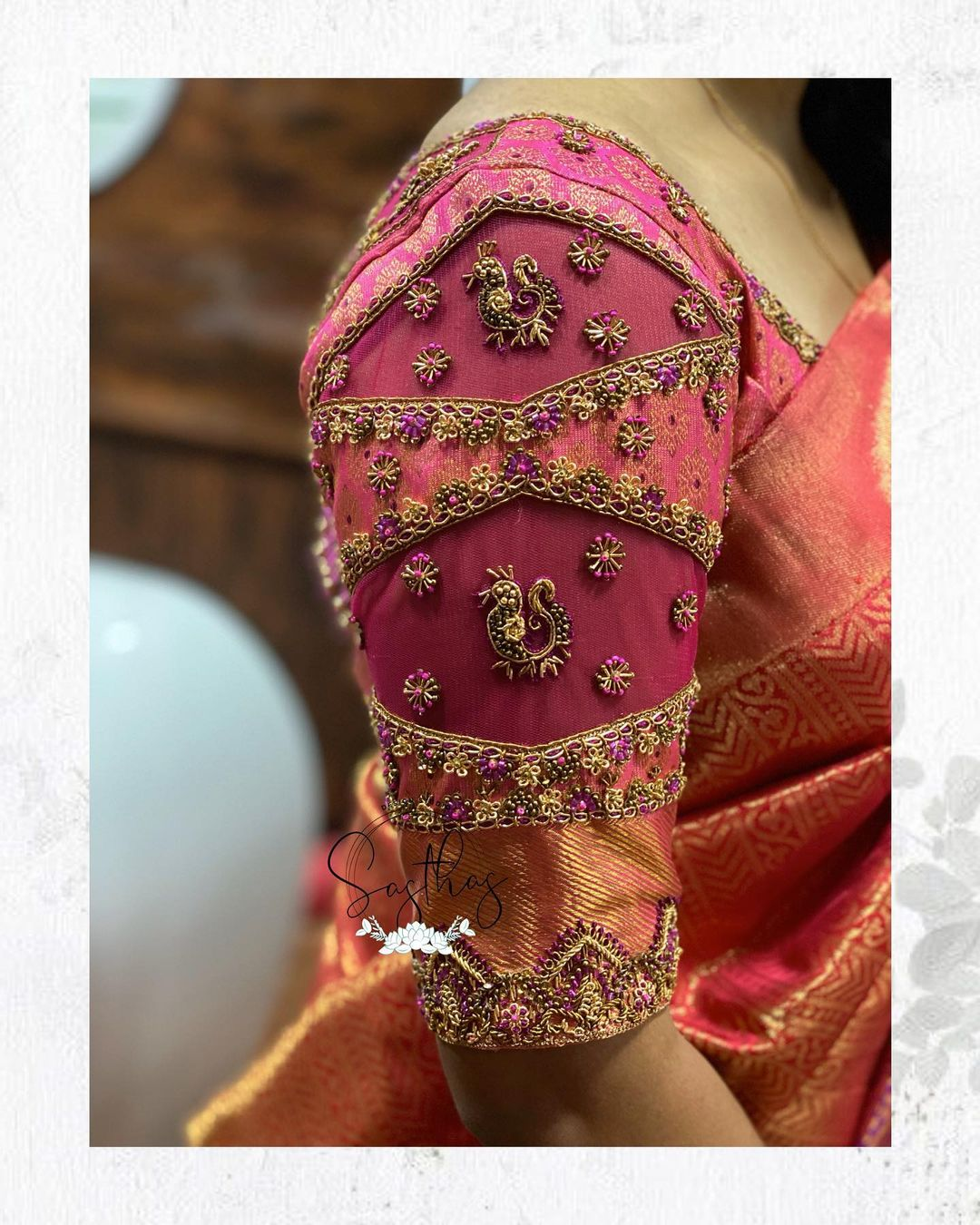 Beautiful hand embroidery aari maggam and zardosi work bridal blouse sleeves.   2021-08-30