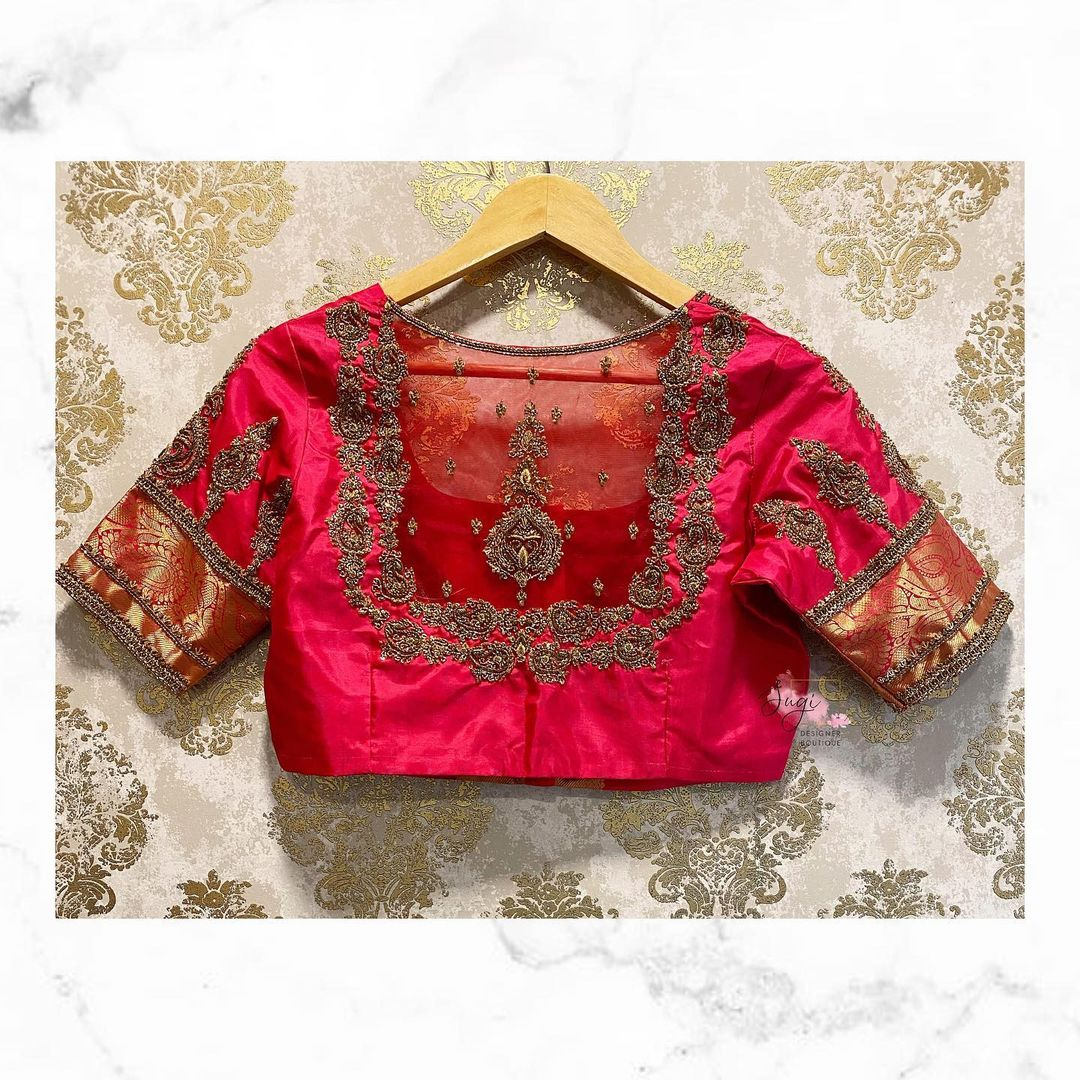 Stunning  bridal blouse back with sheer back and floral silver zardosi work. 2021-08-30