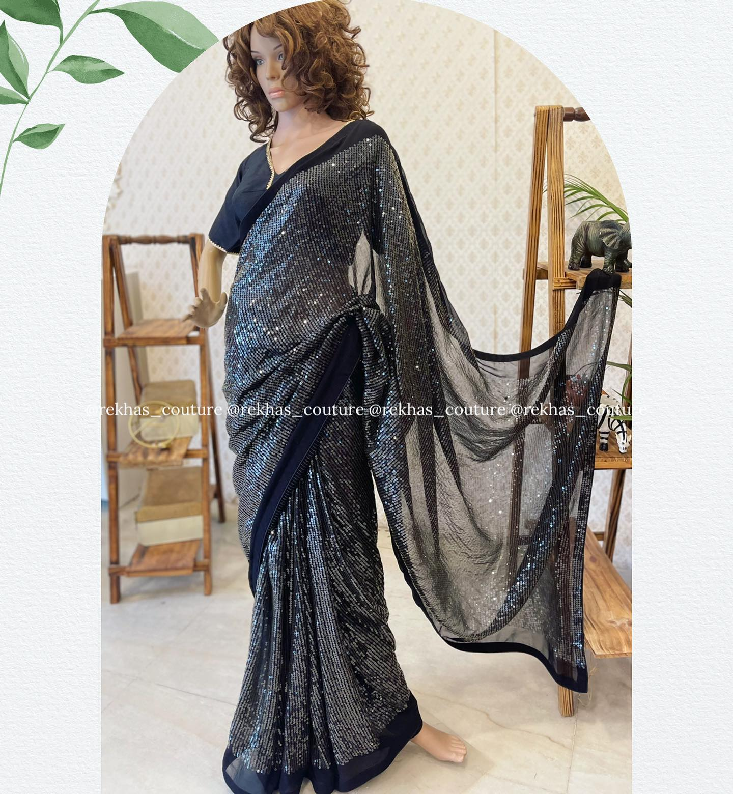 Gorgeous black and gray color combination sequin saree and blouse. 2021-08-31
